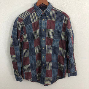 Nautica Button Down Shirt Sz M Blue Red Madras